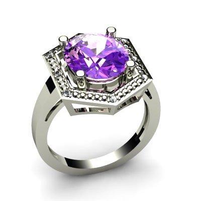 Genuine 4.58 ctw Amethyst Diamond Ring W/Y Gold 10kt