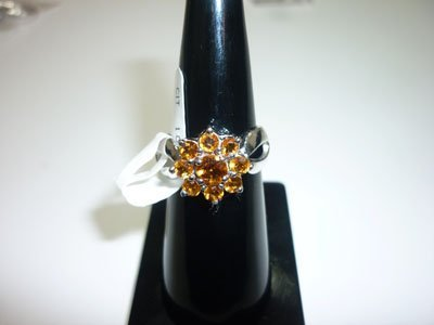NATURAL 23.50 CTW CITRINE RING .925 STERLING SILVER