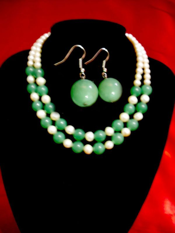 NATURAL 550 CTW FRESWATER PEARL WITH JADE STONE DOUBLE