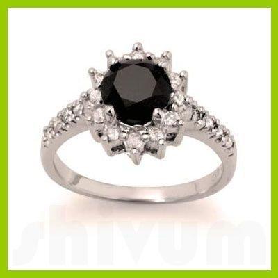 Genuine 2.46 ctw Black Diamond Ring 14kt Gold-White