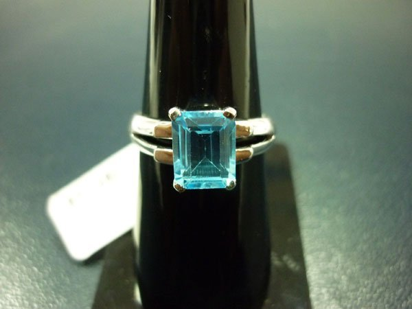 NATURAL 17.25 CTW BLUE TOPAZ RING .925 STERLING SILVER