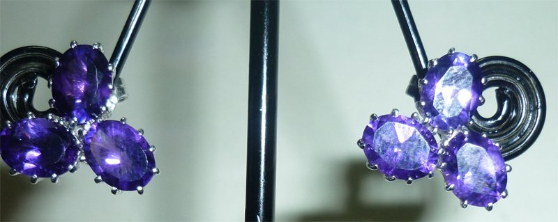 NATURAL 26.50 CTW AMETHYST EARRING .925 STERLING SILVER