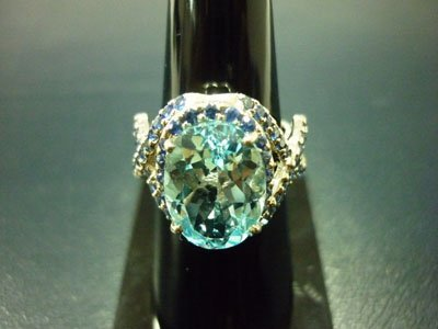 NATURAL 30.25 CTW BLUE TOPAZ AND SAPPHIRE RING .925 STE