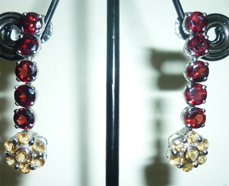 NATURAL 36.00 CTW CITRINE AND GARNET EARRING .925 STERL