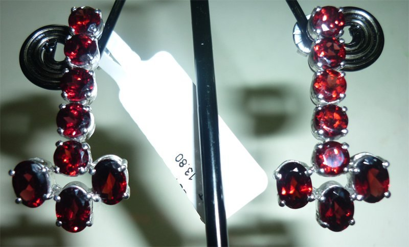 NATURAL 43.00 CTW GARNET EARRING .925 STERLING SILVER