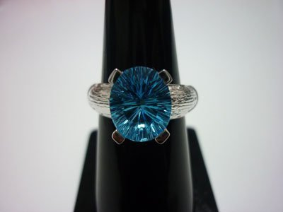 NATURAL 24.00 CTW BLUE TOPAZ RING .925 STERLING SILVER