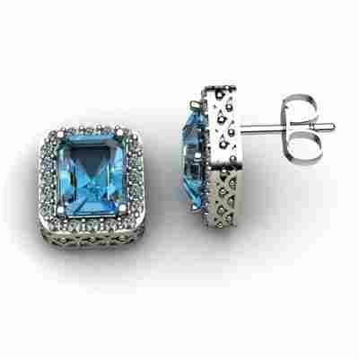 Genuine 5.10 ctw Topaz Diamond Earring 14k W/Y Gold