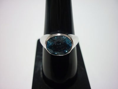NATURAL 27.50 CTW BLUE TOPAZ RING .925 STERLING SILVER