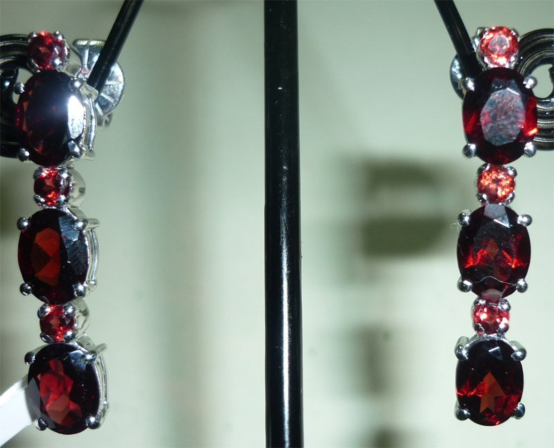 NATURAL 33.50 CTW GARNET EARRING .925 STERLING SILVER