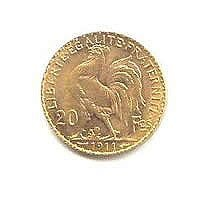 French 20 Franc Rooster Gold Coin, 1906-1914