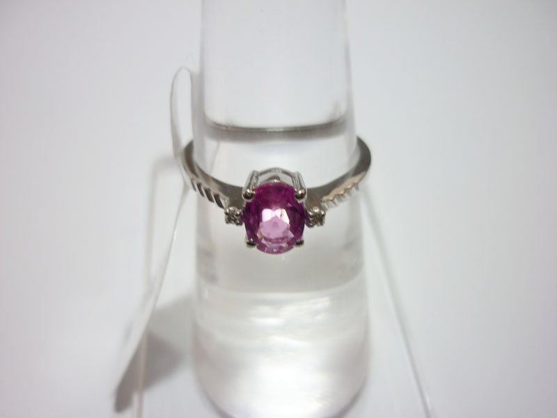 NATURAL 14.75 CTW RUBY and DIAMOND RING .925 STERLING S