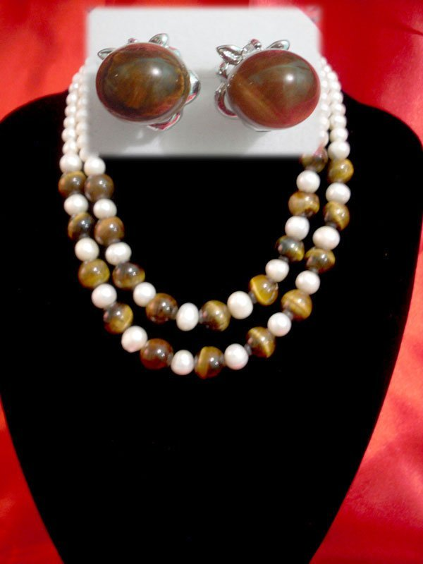 NATURAL 550 CTW FRESHWATER PEARL WITH TIGER EYE STONE S