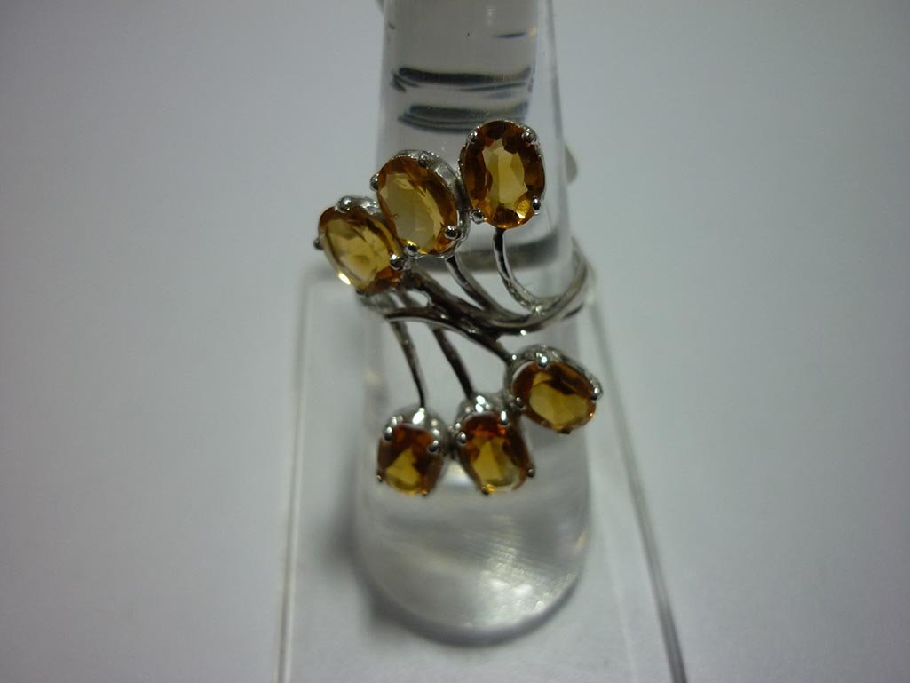21.00 CTW CITRINE RING .925 STERLING SILVER
