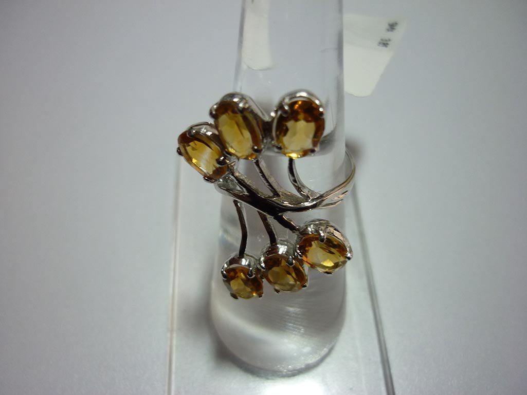 21.75 CTW CITRINE RING .925 STERLING SILVER