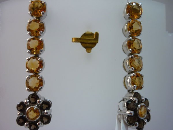 33.00 CTW SMOKEY TOPAZ AND CITRINE EARRING .925 STERLIN