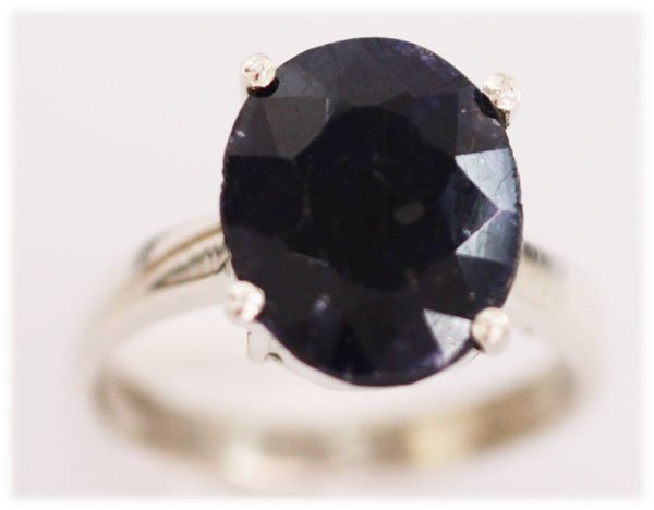 NATURAL 20.10 CTW SAPPHIRE OVAL RING .925 STERLING SILV