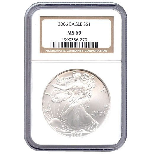 Certified Uncirculated Silver Eagle 2006 MS69