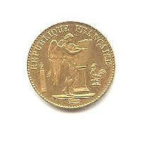 French 20 Franc Angel Gold Coin, 1871-1906