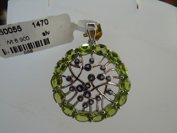 34.50 CTW PERIDOT AND LOLITE PENDANT .925 STERLING SILV