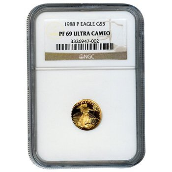 Certified Proof American Gold Eagle $5 1988 PF69 NGC