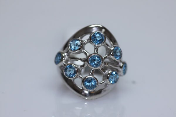43.00 CTW BLUE TOPAZ RING .925 STERLING SILVER
