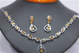 15150 CTW CITRINE NECKLACE AND EARRING SET 925 STERLI