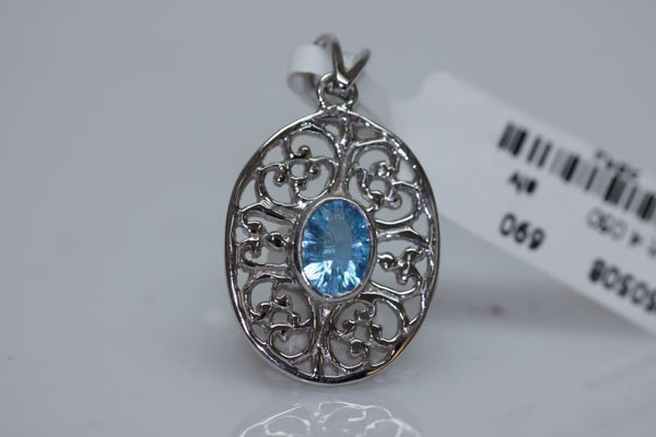 20.70 CTW BLUE TOPAZ PENDANT .925 STERLING SILVER