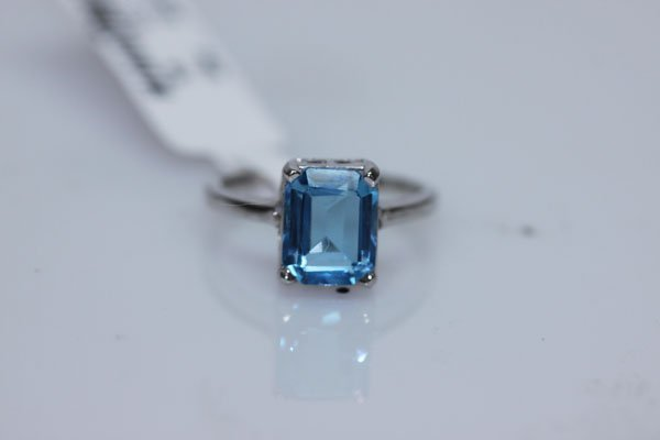 14.75 CTW BLUE TOPAZ RING .925 STERLING SILVER