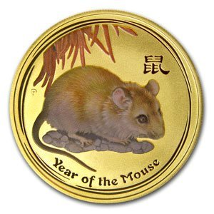 2008 1/2 oz Gold Lunar Year of the Mouse (Series 2) (Co