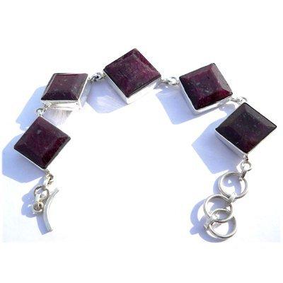 Natural 222.35 ctw Ruby Square .925 Sterling Bracelet