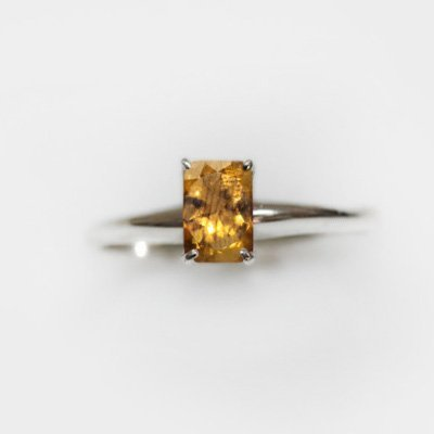 Natural 4.35 ctw Citrine Emerald Cut .925 Sterling Ring