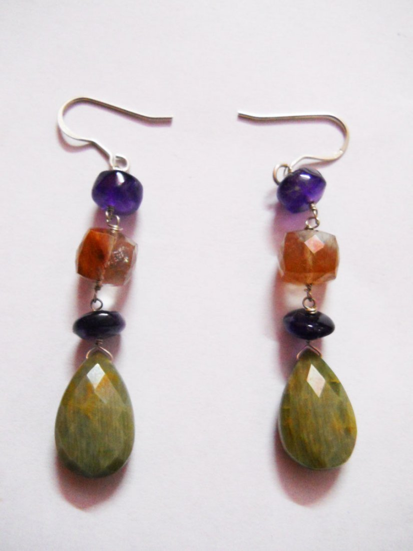 NATURAL 42.10 CTW SEMIPRECIOUS EARRING .925 STERLING SI
