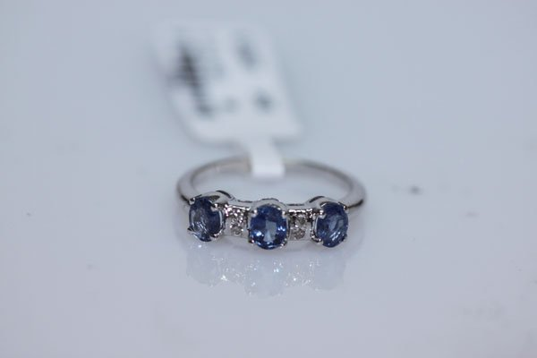 12.00 CTW SAPPHIRE AND DIAMOND RING .925 STERLING SILVE