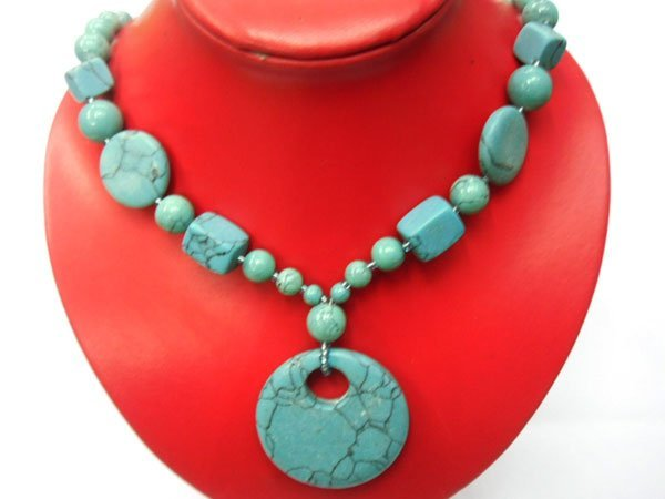 BLUE TURQUISE WITH ALL SHAPE DESIGN LONGSTRAND NECKLACE