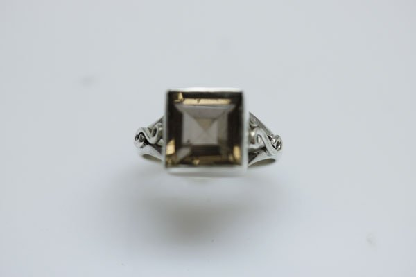 NATURAL 22.20 CTW SMOKY TOPAZ SQUARE CUT RING .925 STER