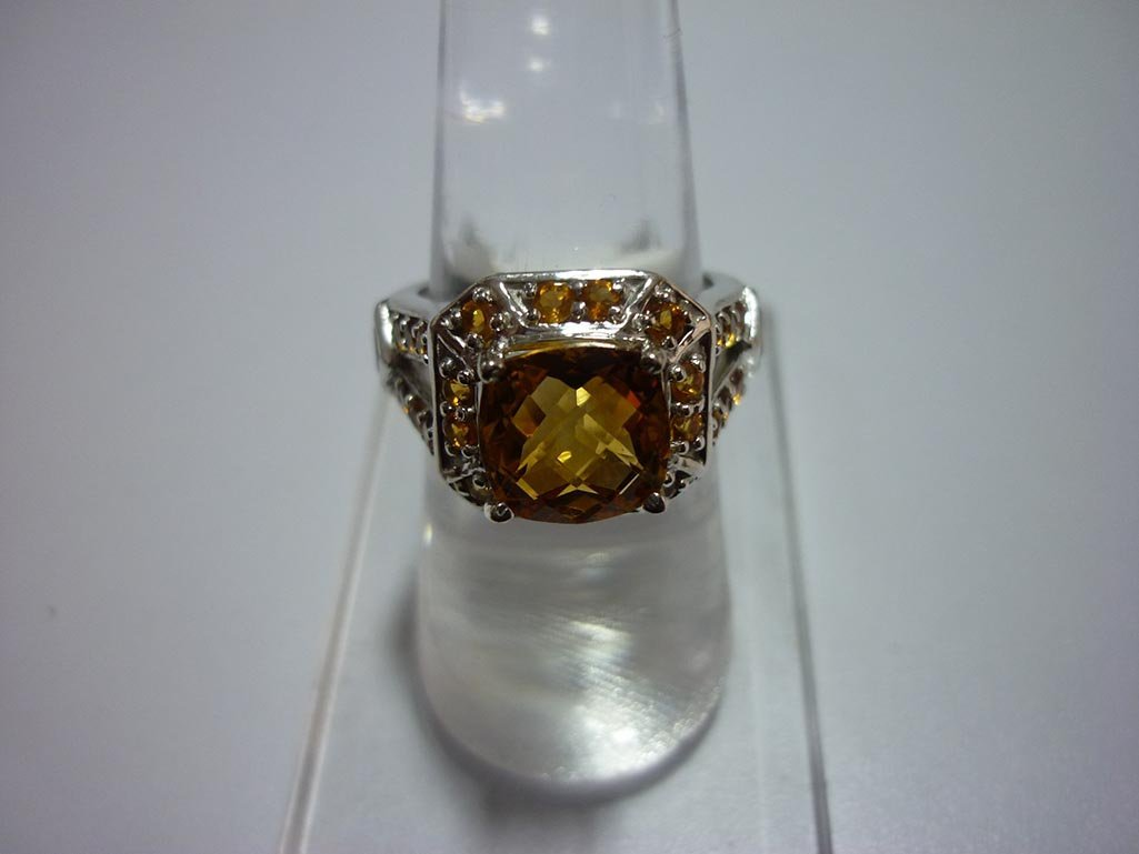 31.00 CTW CITRINE RING .925 STERLING SILVER