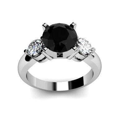Genuine 2.8 ctw Black Diamond Ring Whte/Yllw Gold 14kt
