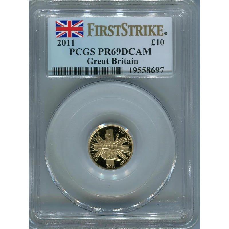Great Britain 1/10 oz. gold Britannia, PF69 First Strik