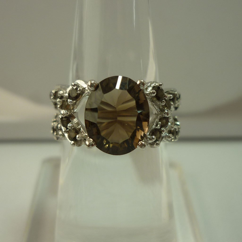 31.00 CTW SMOKEY TOPAZ RING .925 STERLING SILVER