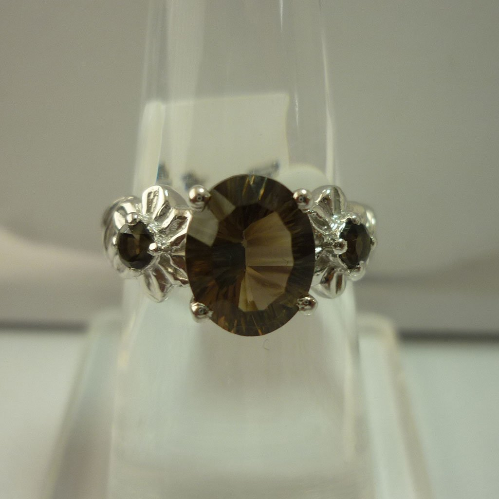 21.25 CTW SMOKEY TOPAZ RING .925 STERLING SILVER