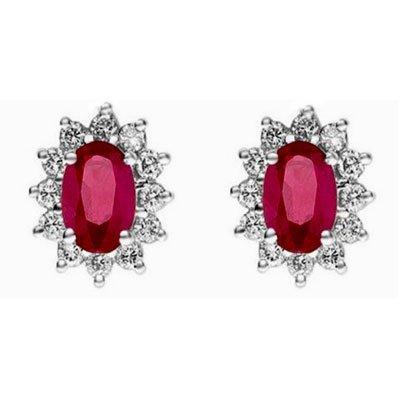 Genuine 2.50 ctw Ruby Earring 14k 2.1g