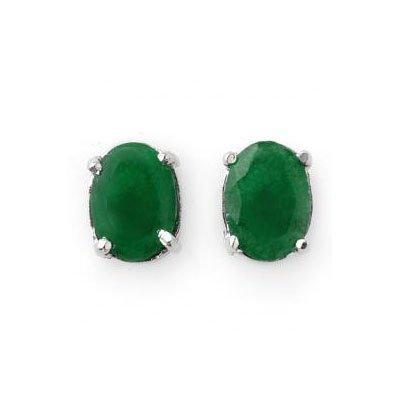 Genuine 3.80 ctw Emerald Oval Cut Stud Earrings 14kt