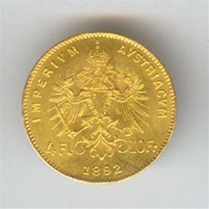 Austria gold 4 florin/10 francs 1892