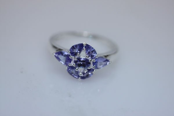 13.55 CTW TANZANITE RING .925 STERLING SILVER