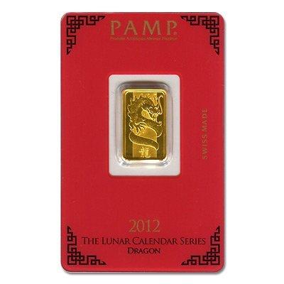 Gold Bars: Pamp Suisse 5 Gram Gold Bar 2012 (Dragon Des