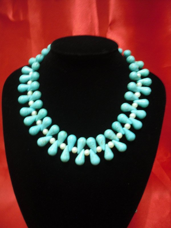600CTW BLUE TURQUISE AND PEARL NECKLACE