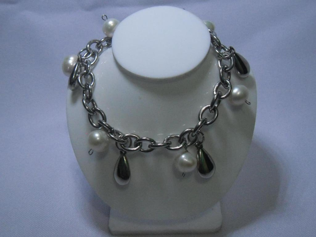 3WHITE PEARL CZ BRACELET; AUTHENTIC PHILIPPINE PEARL; M