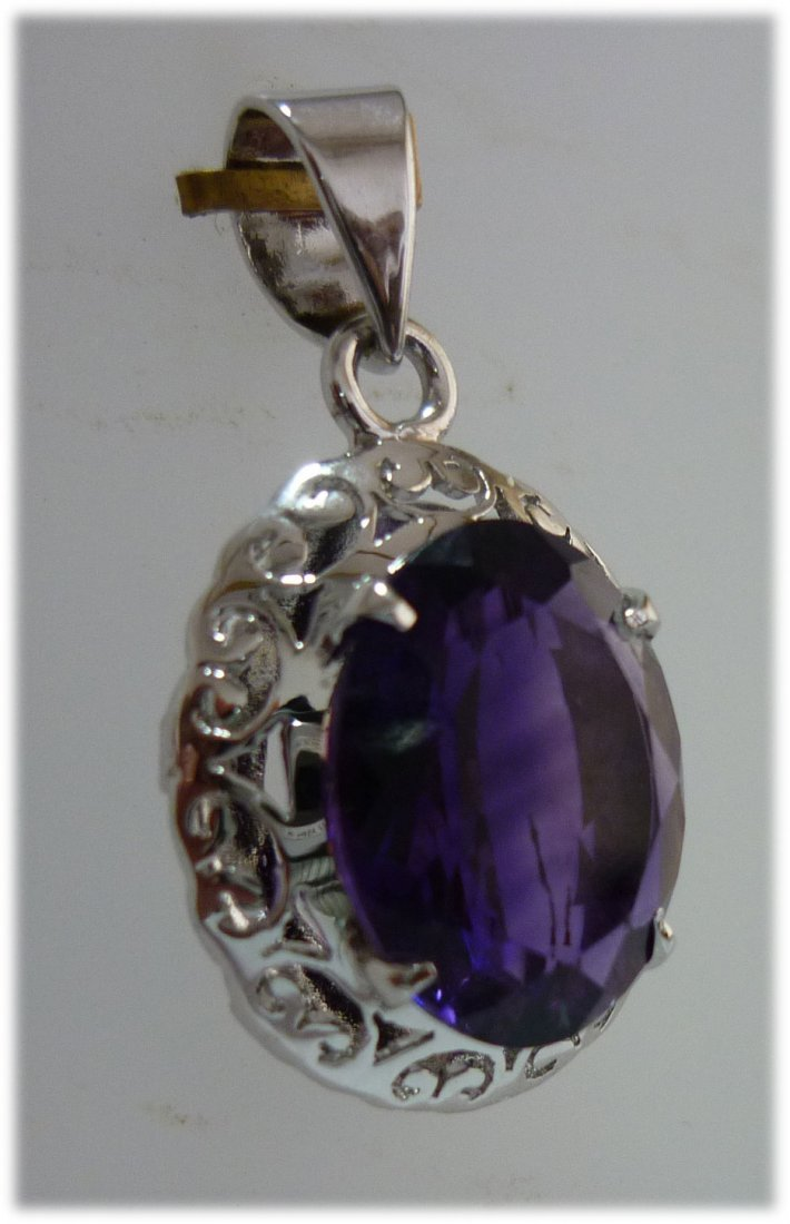 19.00 ctw Amethyst Oval Pendant .925 STERLING SILVER