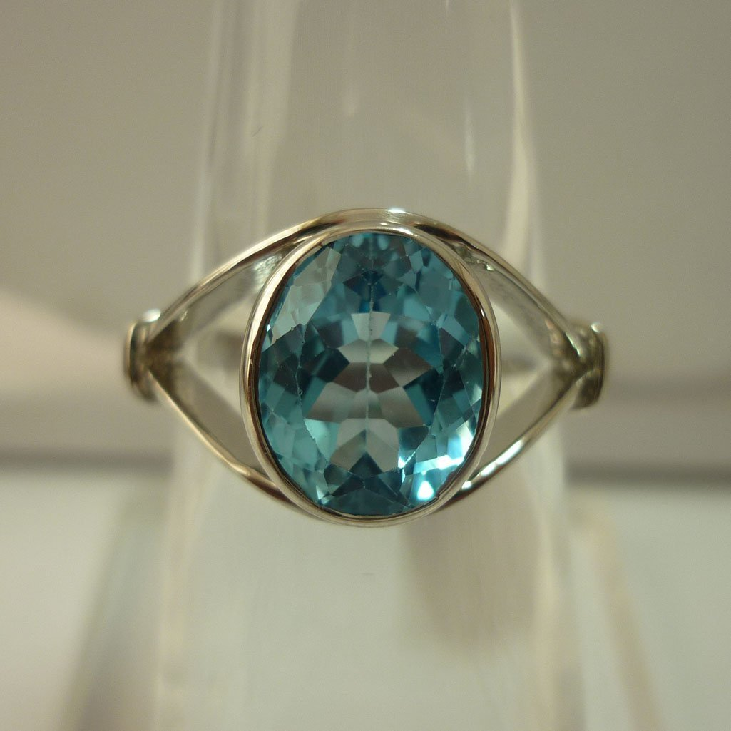 16.50 CTW BLUE TOPAZ RING .925 STERLING SILVER