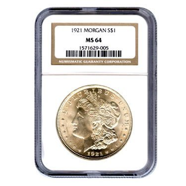 Certified Morgan Silver Dollar 1921 MS64 NGC